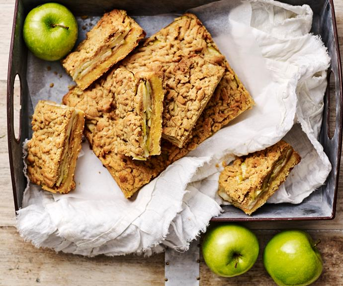 """**[Apple streusel slice](https://www.womensweeklyfood.com.au/recipes/apple-streusel-slice-31972