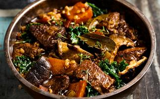 Hearty beef and barley casserole