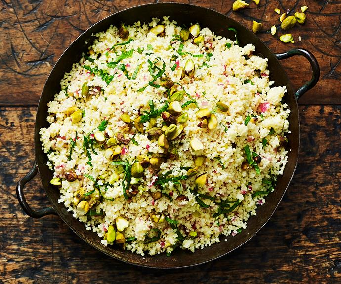 """**[Lemon pistachio couscous](https://www.womensweeklyfood.com.au/recipes/lemon-pistachio-couscous-9065