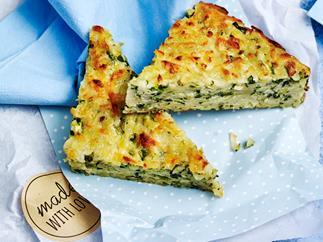 Zucchini and haloumi slice