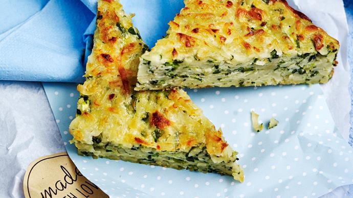 Zucchini and haloumi slice