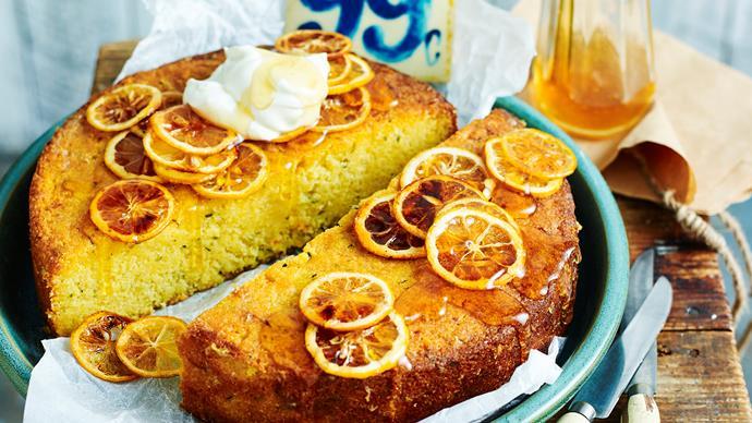 Lemon and zucchini polenta cake
