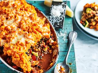 Curried lentil cottage pie