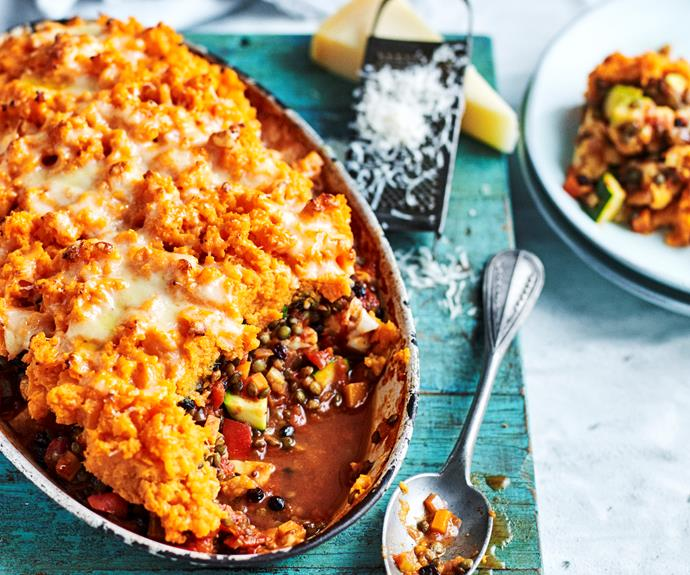 """**[Curried lentil cottage pie](https://www.womensweeklyfood.com.au/recipes/curried-lentil-cottage-pie-31991