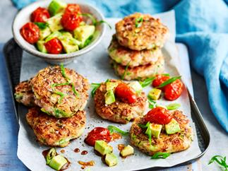 Ham, zucchini and green onion fritters