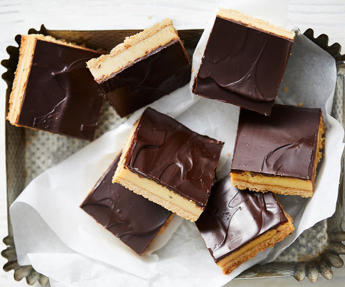 "**[Caramel slice](https://www.womensweeklyfood.com.au/recipes/caramel-slice-11734|target=""_blank"")**  A slice of pure heaven."