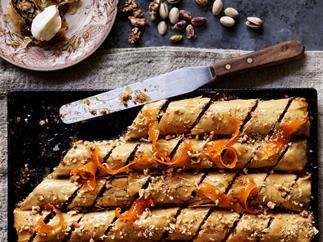 Pistachio, walnut & chocolate baklava