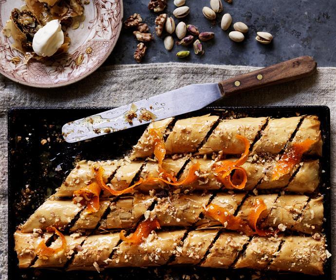 """**[Pistachio, walnut & chocolate baklava](https://www.womensweeklyfood.com.au/recipes/pistachio-walnut-and-chocolate-baklava-32023 target=""""_blank"""")**"""