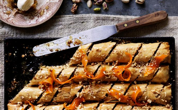 Pistachio, walnut and chocolate baklava