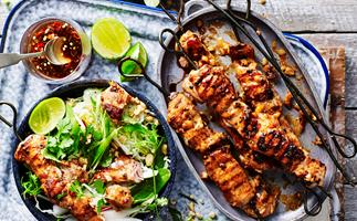 chicken satay skewers with crunchy salad