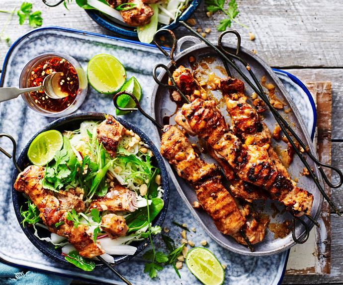 "**[Chicken satay skewers with crunchy salad](https://www.womensweeklyfood.com.au/recipes/chicken-satay-skewers-with-crunchy-salad-14514|target=""_blank"")**  Tender chicken skewers with delicious peanut sauce and crunchy salad makes a great lunch or light supper."