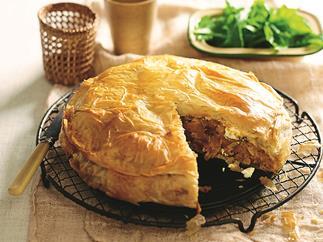Pumpkin and chickpea filo pie