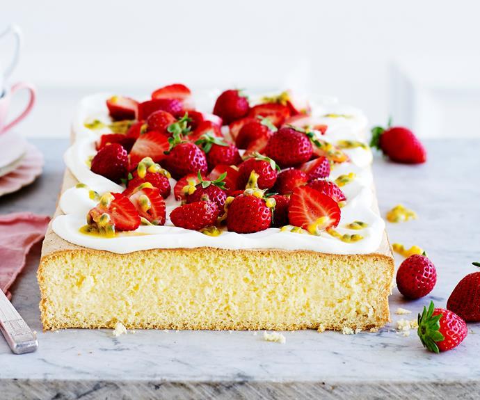 "**[Strawberries and cream sponge](https://www.womensweeklyfood.com.au/recipes/strawberries-and-cream-sponge-32029|target=""_blank"")**  Light sponge topped with whipped cream, strawberries and passionfruit pulp for an elegant touch."
