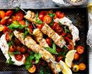 Fish skewers with labne & chilli tomato salad