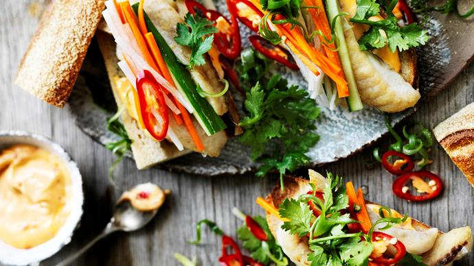 Fish banh mi with pickled vegetables & spicy mayonnaise