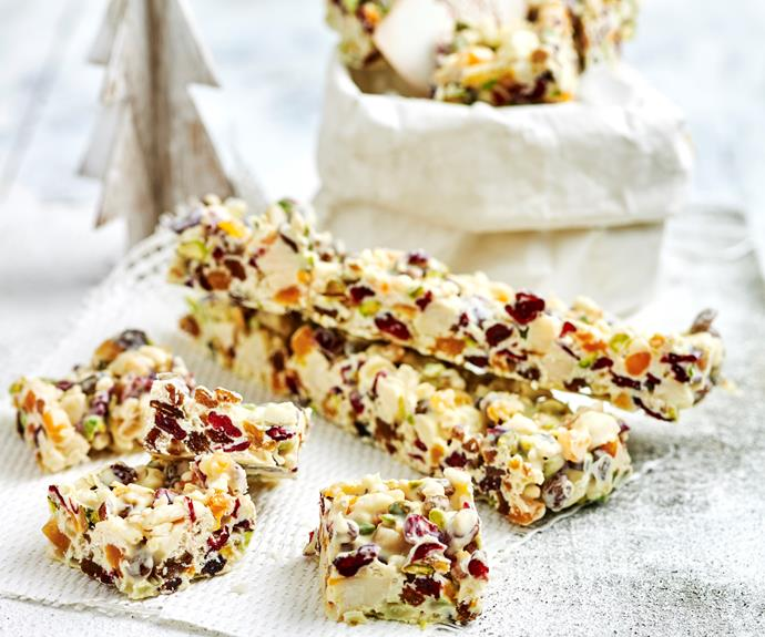 "**[White Christmas](https://www.womensweeklyfood.com.au/recipes/white-christmas-26967|target=""_blank"")**  This classic white Christmas recipe will have you celebrating in style with white chocolate, dried fruits and nuts, and crispy puffed rice and makes a great edible gift idea."
