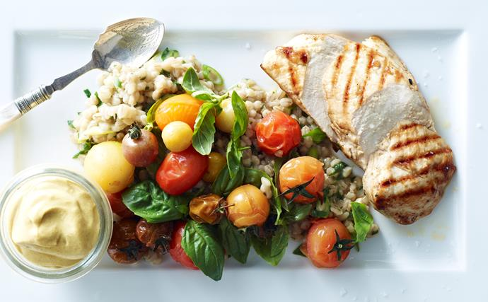 grilled chicken with barley pilaf