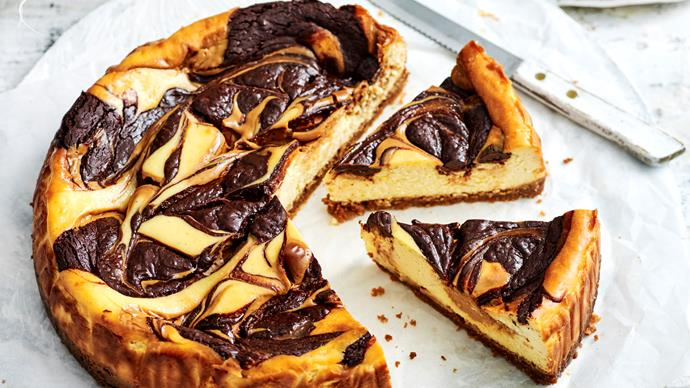 Baked chocolate and caramel cheesecake