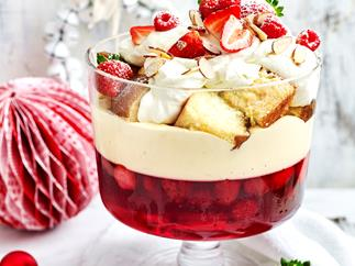 Raspberry and almond trifle