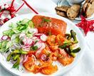 Salmon gravlax platter