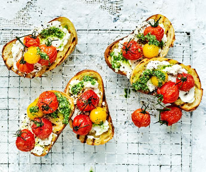 """**[Cherry tomato and goats cheese bruschetta](https://www.womensweeklyfood.com.au/recipes/cherry-tomato-and-goats-cheese-bruschetta-32104