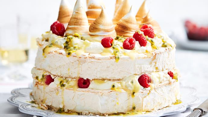 Lemon and passionfruit pavlova stack