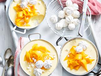Mango, coconut and lime panna cotta