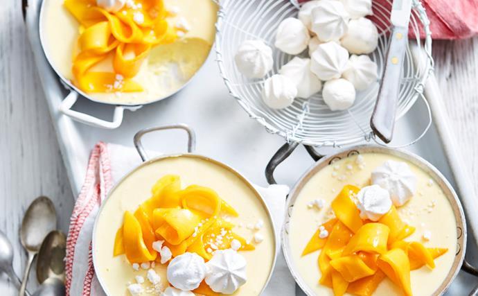 Mango, coconut and lime panna cotta