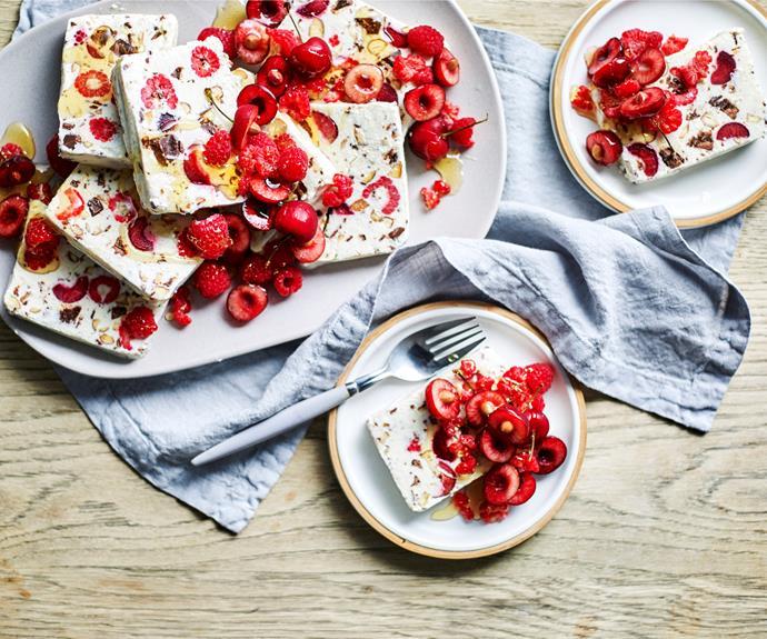 "**[Chocolate, honey and red berry parfait](https://www.womensweeklyfood.com.au/recipes/chocolate-honey-and-red-berry-parfait-32157|target=""_blank"")**  The ideal summer treat."