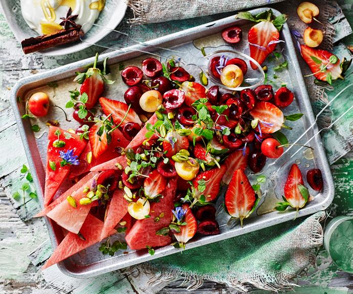 "**[Red fruit salad with chai spiced yoghurt](https://www.womensweeklyfood.com.au/recipes/red-fruit-salad-32158|target=""_blank"")**  Fresh vibrant and full of summer fruits, this colourful red fruit salad is just what you need. Perfect for summer gatherings and hot days."