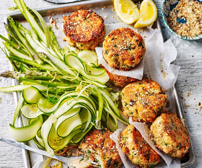 """**[Dukkah salmon patties with zucchini and asparagus salad](http://www.womensweeklyfood.com.au/recipes/dukkah-salmon-patties-with-zucchini-salad-1679