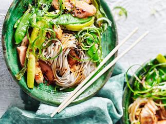 Miso salmon soba noodles