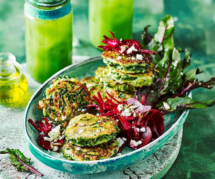 """**[Cavolo nero fritters with pickled beetroot](https://www.womensweeklyfood.com.au/recipes/kale-fritters-with-pickled-beetroot-32162