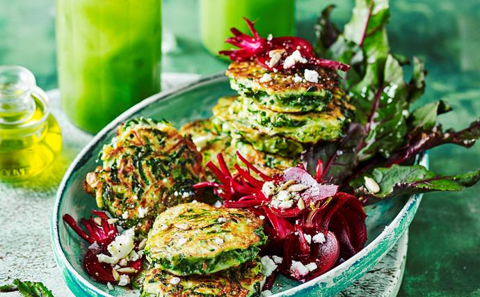Cavolo nero fritters with pickled beetroot