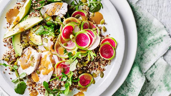 Poached chicken and quinoa salad with watercress