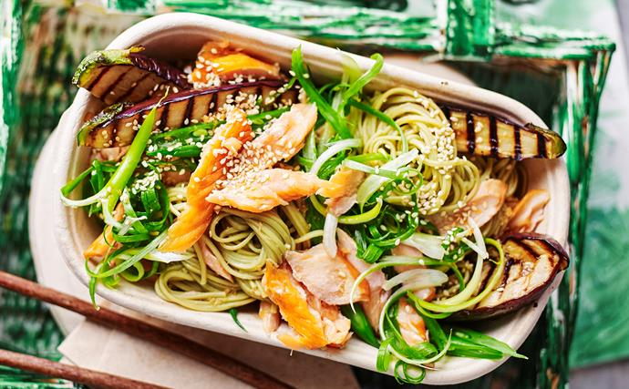 Eggplant noodle salad with smoked trout