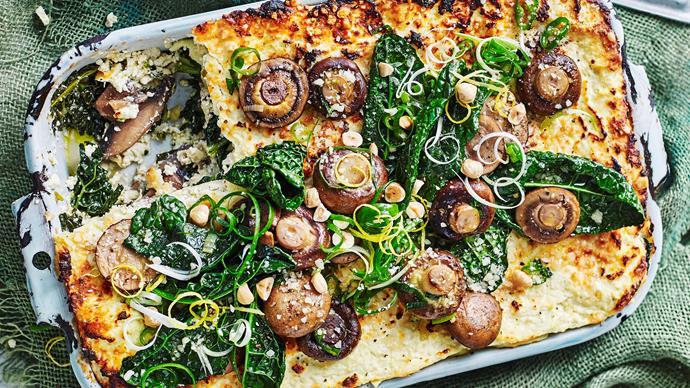Mushroom lasagne with cavolo nero