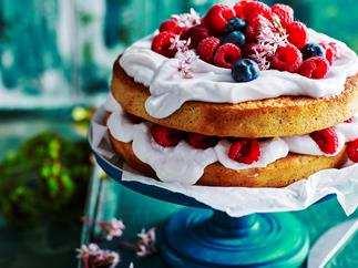 Mixed berry coconut layer cake