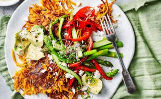 Sweet potato rösti with roasted vegetables