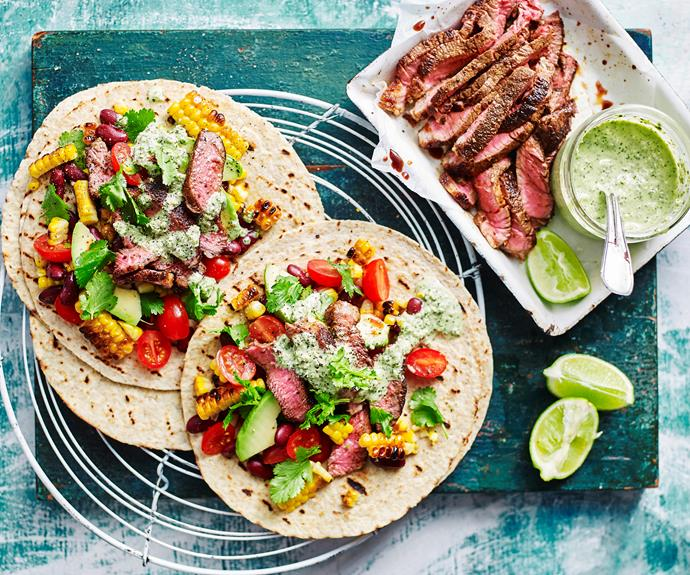 """**[Mexican beef corn salad wraps](https://www.womensweeklyfood.com.au/recipes/mexican-beef-corn-salad-32190