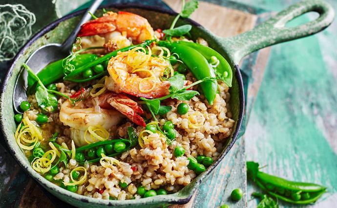 Pea and barley risotto with garlic prawns