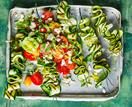 Zucchini ribbon skewers with tomato fetta salad