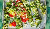 Zucchini ribbon skewers with tomato fetta salad