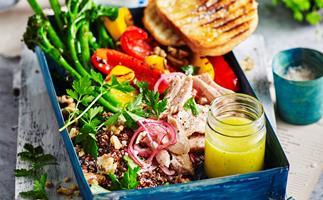 Smoked tuna and quinoa salad with broccolini