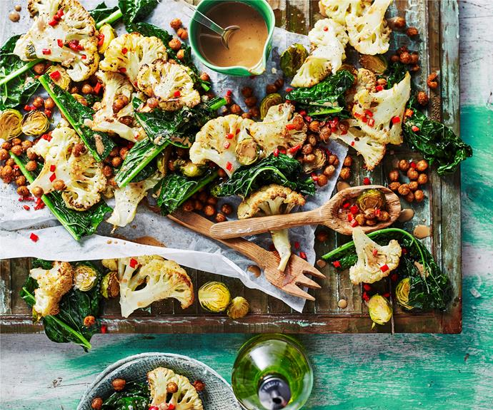 """**[Roasted cauliflower and spiced chickpea salad](https://www.womensweeklyfood.com.au/recipes/roasted-cauliflower-and-spiced-chickpea-salad-32194