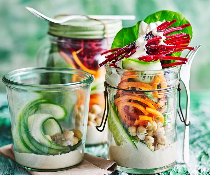 """This [rainbow salad with tahini dressing](https://www.womensweeklyfood.com.au/recipes/rainbow-salad-32195