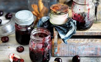 cherry, cinnamon and vanilla jam