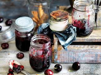 cherry, cinnamon and vanilla jam