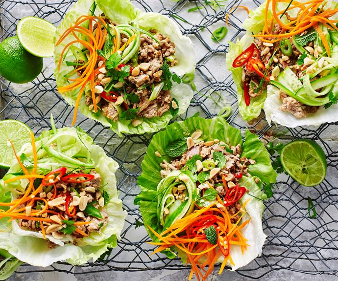"**[Pork larb](https://www.womensweeklyfood.com.au/recipes/pork-larb-27438|target=""_blank"")**  This quick dish is tantilising with pork, cooked in spicy chilli, garlic and fish sauce."