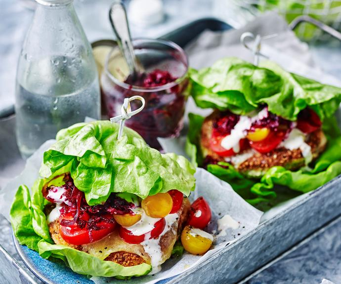 "**[Cauliflower burgers](https://www.womensweeklyfood.com.au/recipes/cauliflower-burgers-32204|target=""_blank"")**  A delicious and low-carb burger."